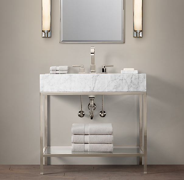 Restoration Hardware Bathroom Vanity Knockoff: Hudson Metal Single Washstand