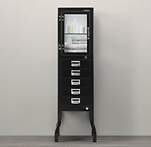 Pharmacy Large Bath Cabinet with Drawers Black