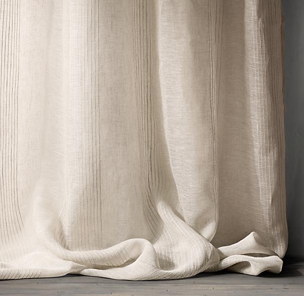 Pinstripe Sheer Belgian Linen Drapery