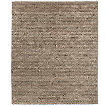 Textured Striped Wool Rug - Heather Grey