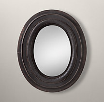 Salvaged Oval Mirror - Black