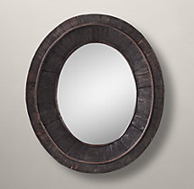 Salvaged Oval Pieced Mirror - Black