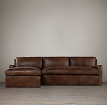 Preconfigured Belgian Slope Arm Leather Left-Arm Chaise Sectional