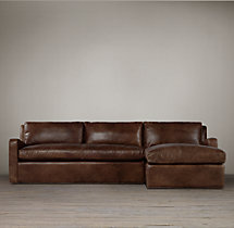 Preconfigured Belgian Slope Arm Leather Right-Arm Chaise Sectional