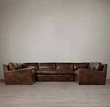 Preconfigured Belgian Slope Arm Leather U-Sofa Sectional
