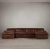 Preconfigured Belgian Slope Arm Leather U-Chaise Sectional