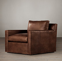 Belgian Track Arm Leather Swivel Chair