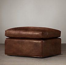 Belgian Classic Slope Arm Leather Ottoman