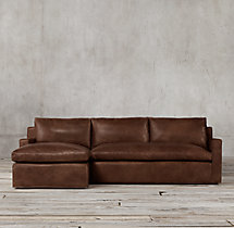 Preconfigured Belgian Track Arm Leather Left-Arm Chaise Sectional