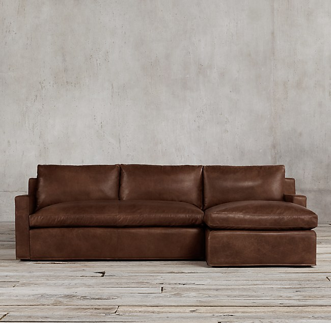 Belgian Track Arm Leather Right Arm Chaise Sectional