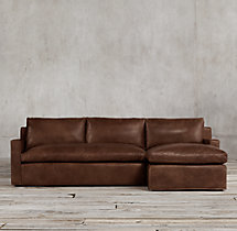 Preconfigured Belgian Track Arm Leather Right-Arm Chaise Sectional