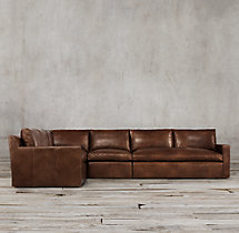 Preconfigured Belgian Track Arm Leather L-Sectional