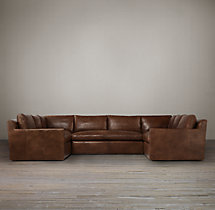 Preconfigured Belgian Track Arm Leather U-Sofa Sectional