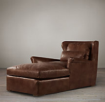 Belgian Wingback Leather Chaise