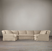 Preconfigured Belgian Classic Roll Arm Slipcovered U-Sofa Sectional