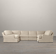 Preconfigured English Roll Arm Slipcovered U-Sofa Sectional