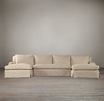 Preconfigured Belgian Classic Roll Arm Slipcovered U-Chaise Sectional