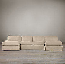 Preconfigured English Roll Arm Slipcovered U-Chaise Sectional