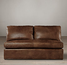 Belgian Classic Roll Arm Leather Armless Sofa