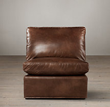 Belgian Classic Roll Arm Leather Armless Chair