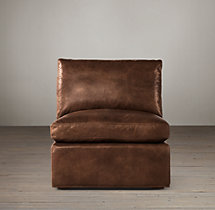 Belgian Track Arm Leather Armless Chair