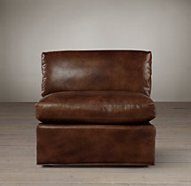 Belgian Shelter Arm Leather Armless Chair