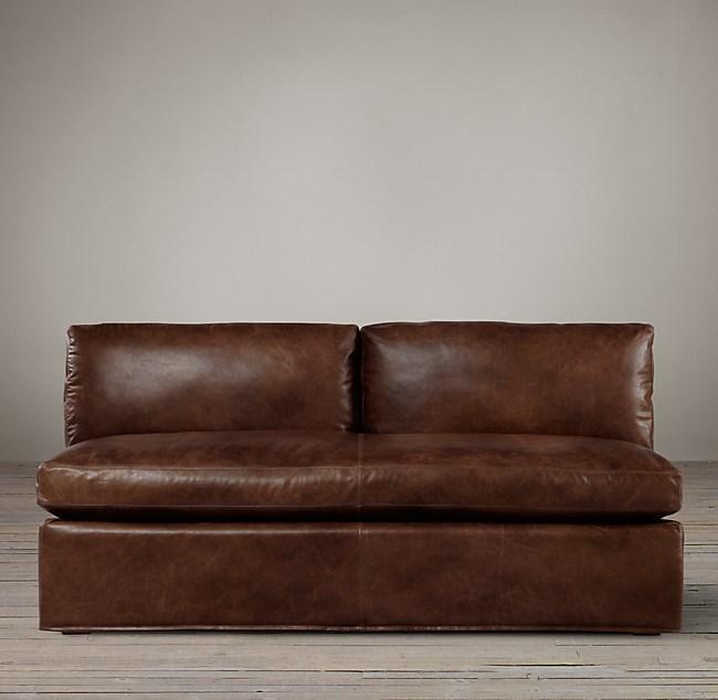 Belgian Shelter Arm Leather Armless Sofa