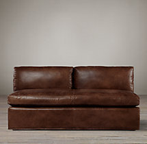 Belgian Shelter Arm Leather Armless Sofa