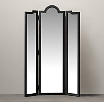 Levico Standing Triptych Mirror - Black