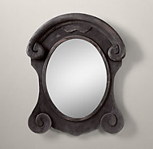 Salvaged Mansard Scroll Mirror