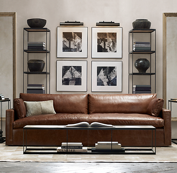 Belgian Track Arm Leather Sofa