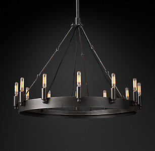 Chandelier collections rh camino vintage filament round chandelier 26 mozeypictures Gallery