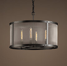 Riveted Mesh Round Chandelier 24""
