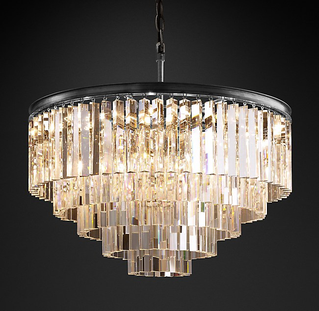 Odeon Clear Glass Fringe 5-Tier Chandelier