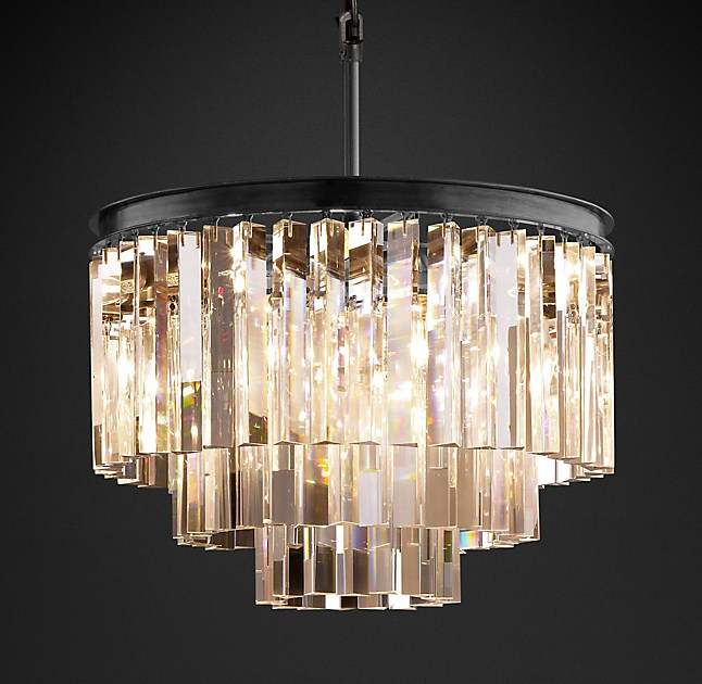 My favorite chandelier that wont break the bank well and strong 1920s odeon clear glass fringe 3 tier chandelier aloadofball Gallery