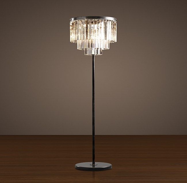 1920s Odeon Clear Glass Fringe Floor Lamp 63