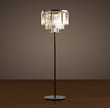 1920s Odeon Clear Glass Fringe Floor Lamp 63""