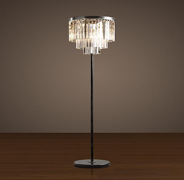 1920s Odeon Clear Glass Fringe Floor Lamp