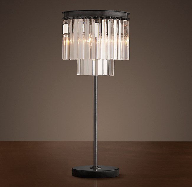 1920s Odeon Clear Gl Fringe Table Lamp