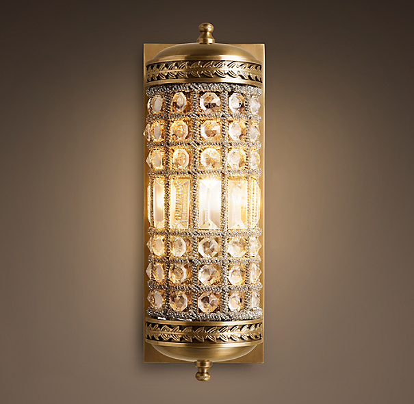 19th c casbah crystal sconce for Crystal bathroom wall sconces