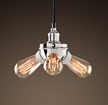 20th C. Factory Filament Bare Bulb Triple Pendant