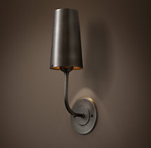 Modern Taper Sconce with Metal Shade