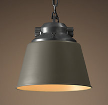 European Factory Cone Pendant - Grey