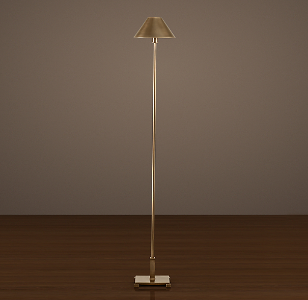 Petite candlestick floor lamp vintage brass with metal shade for Vintage floor lamp with metal shade