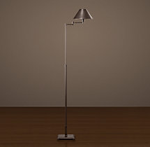 Petite Candlestick Swing-Arm Floor Lamp with Metal Shade