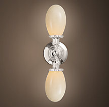 Vintage English Oval Double Sconce