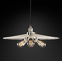 20th C. Factory Filament Reflector Triple Pendant
