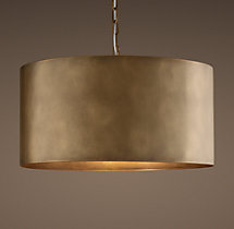 Antiqued Metal Drum Pendant