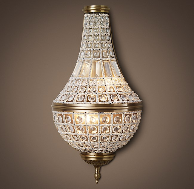 """19TH C. French Empire Crystal Sconce 26"""""""