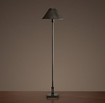 Petite Candlestick Buffet Lamp Aged Steel with Metal Shade